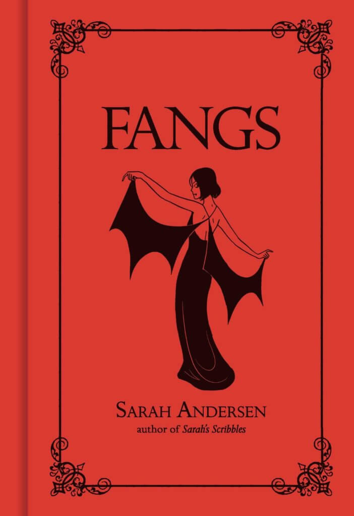 a stylized woman with a goth dress on the cover of Fangs by Sarah Andersen