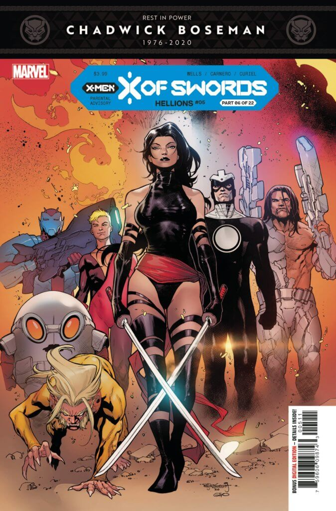 The Hellions walking through a gate, lead by Psylocke on the Hellions #5 cover