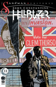 John in front of a Political Poster cover of Hellblazer #11 by Leon