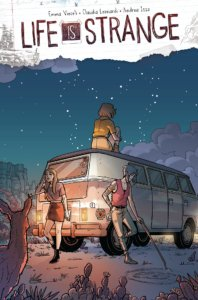 During a clear desert night, one woman sits atop a van looking at the sky, while two others lean against it, bored. A deer watches the scene.