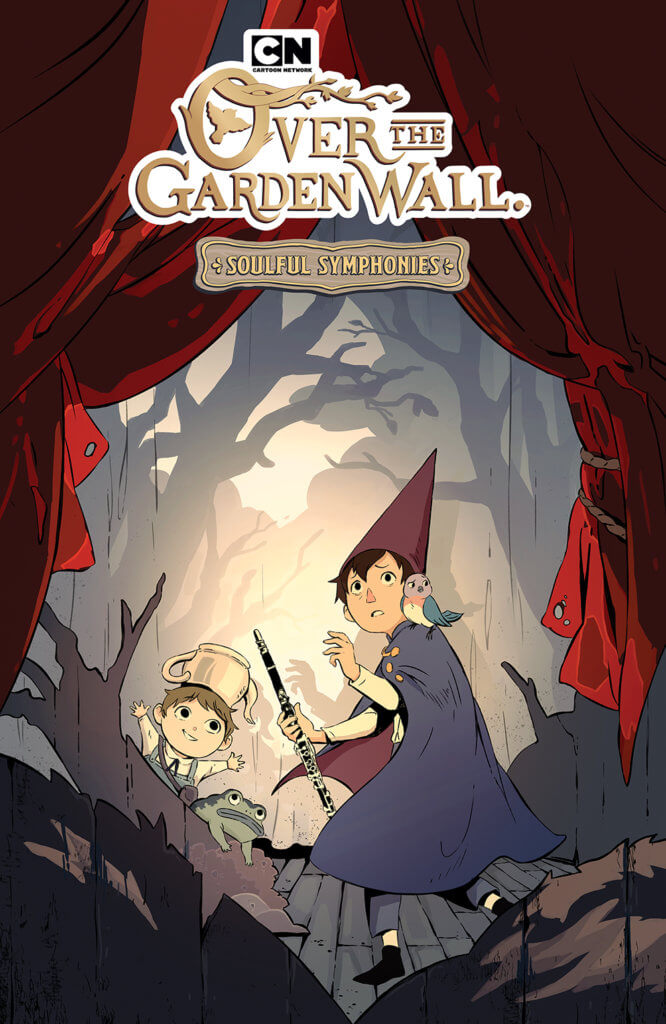 The cover of OTGW: Soulful Symphonies - Greg, Wirt and Beatrice stand on a theater stage surrounded by props and shadows of trees