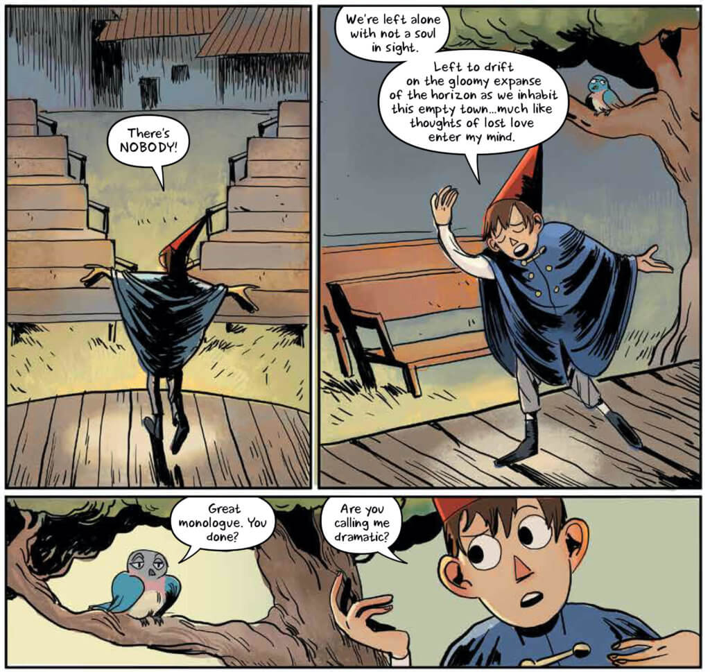 A page from Soulful Symphonies: Beatrice makes fun of Wirt for being overly dramatic while he comments on how empty the town is