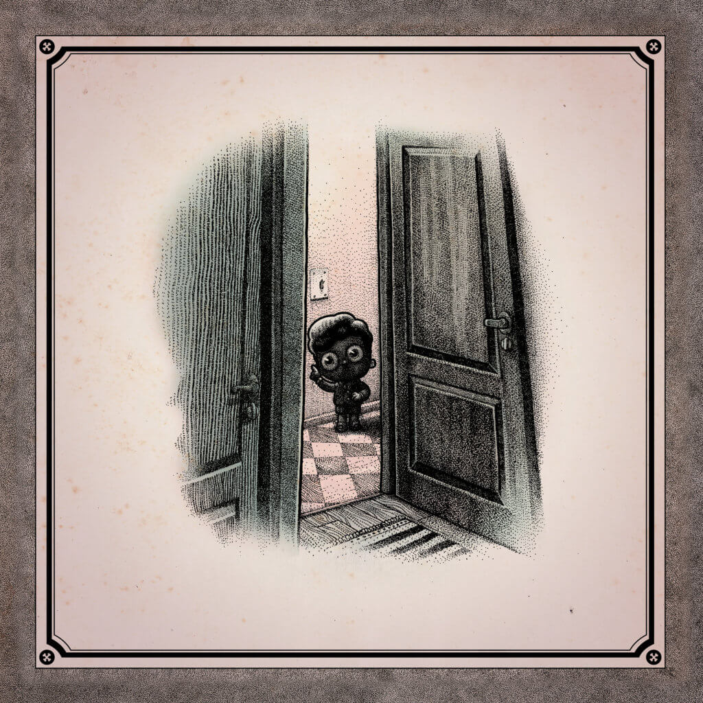 A little boy opens a large door and peers through it