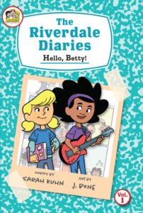 Betty Cooper - an adorable thirteen year old with blond pigtails wearing a blue teeshirt and jeans - stands beside her friend Valerie, a light-skinned black girl with black hair, a purple headband, purple teeshirt and blue jeans. Valerie has her red guitar, and Betty has a pink composition notebook. They pop out of the frame of a peach-colored polaroid photo, which appears to be scotch taped to the cover of a blue-pattered composition note book
