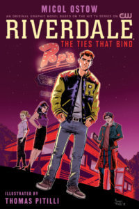 Archie Andrews - a redheaded teenager in jeans a teeshirt and a yellow-sleeved navy letterman jacket - stands before Pop's Chok'lit shop. Behind him is Veronica Lodge - a brunette teenager in a black dress, Betty Cooper- a blonde teen with a ponytail in a pink hoodie and jeans, and Jughead jones - wearing a jester cap, a navy jacket and jeans. The colors are neoin pink, red and purples. The Pops' sign looms behidn them in red. The title above them announces the comic's title