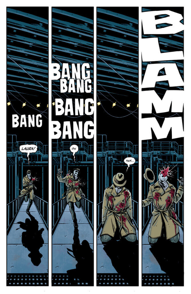 """Rorschach #1 page one """"Rorschach running while getting shot"""