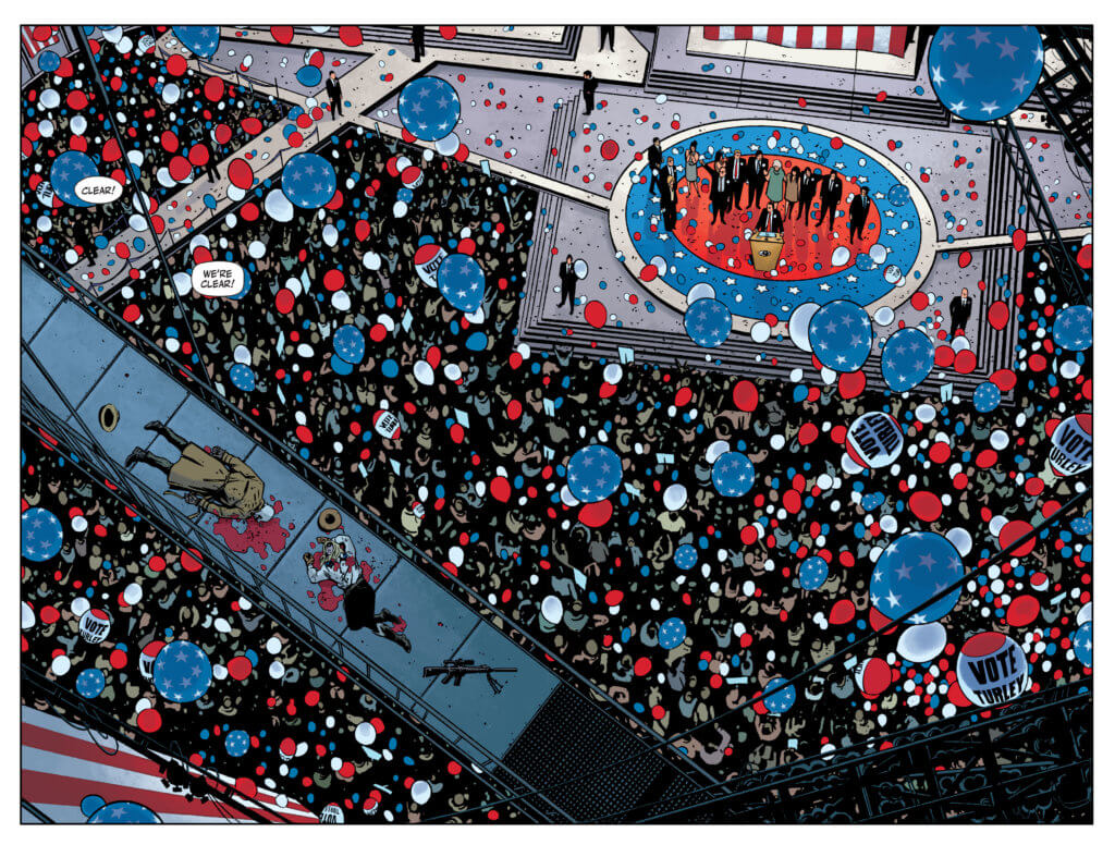 Rorschach #1 pages 2-3 by Fornės - A political celebration
