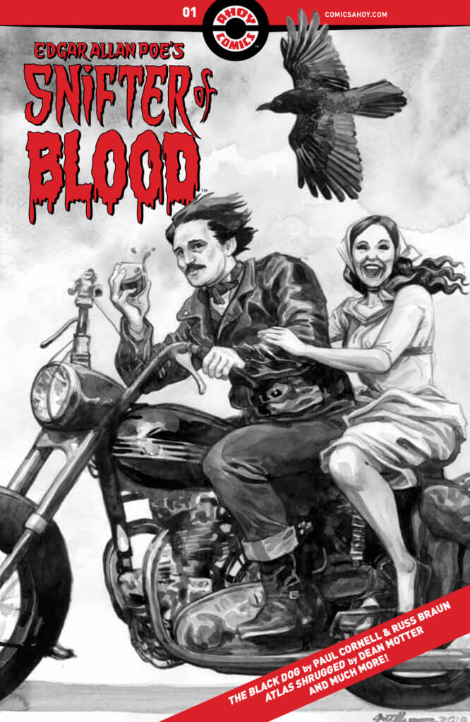 Edgar Allan Poe rides a motorcycle with a woman behind him and a raven flying above