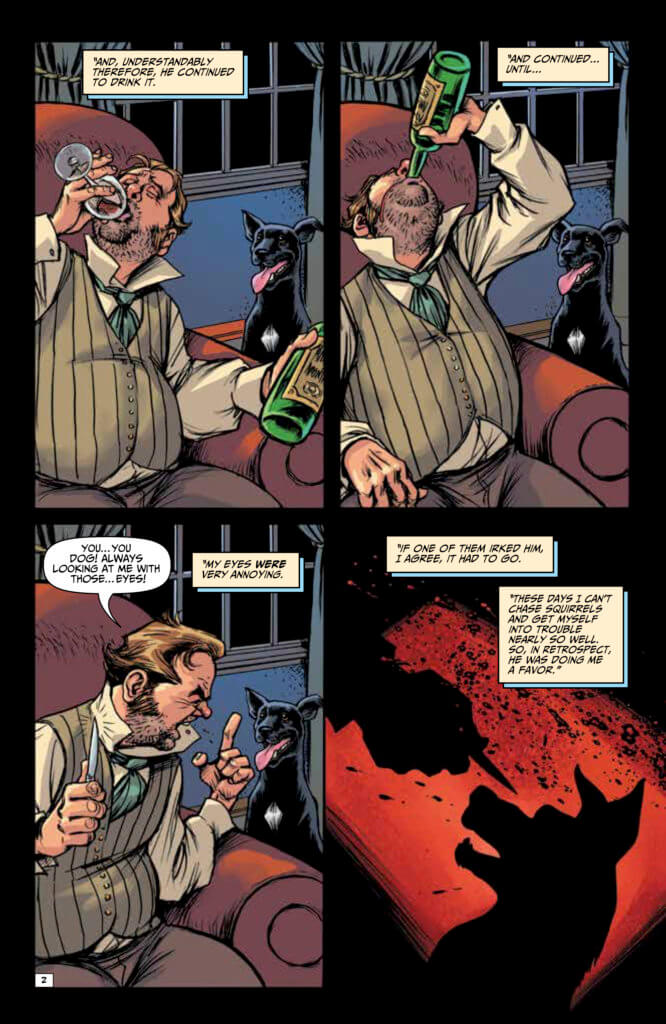 Panels from Edgar Allan Poe's Snifter of Blood #1 (Ahoy Comics, October 2020)