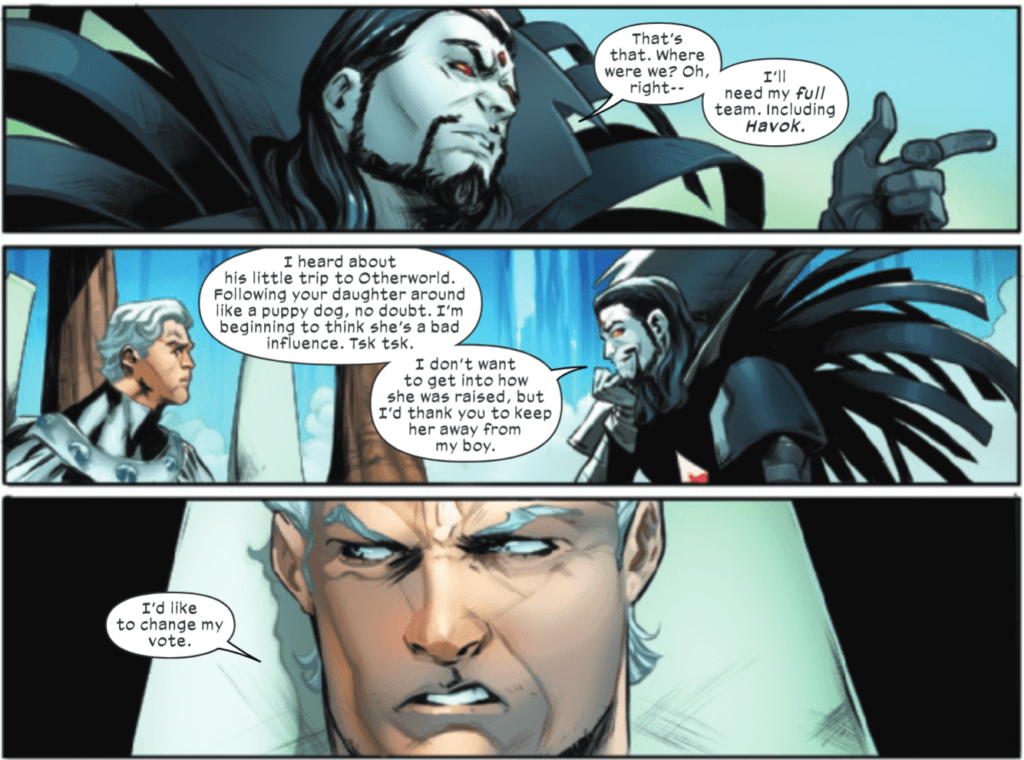 Sinister arguing with Magneto in Hellions #5
