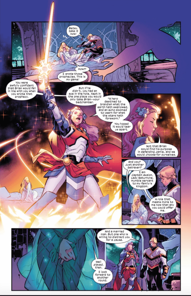 Betsy claiming the Starlight Sword and Brian shunning Saturnyne in Excalibur #13 art by R.B. Silva
