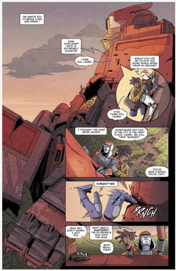 Evan and the mech Laurel traverse a large dormant Giga to find a new part for Laurel's brain.