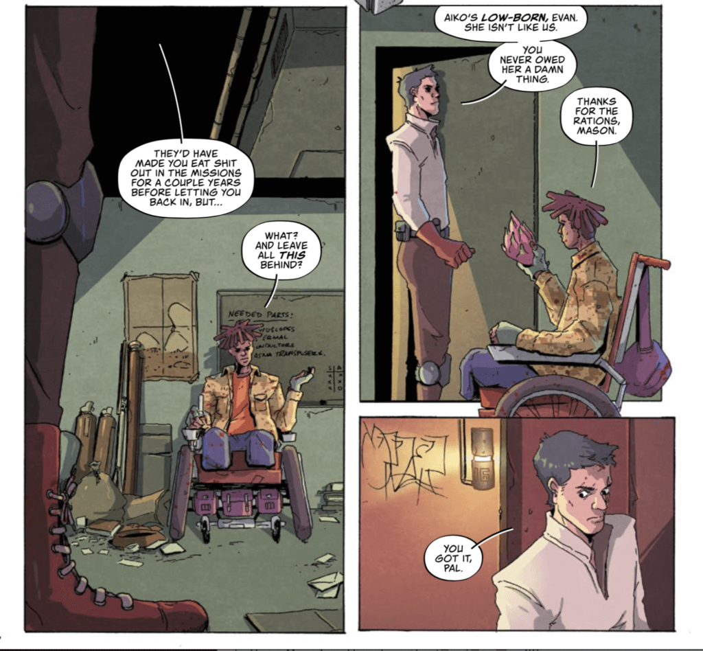 Several panels from the new comic Giga #1 by Vault Comics. They show the engineer Evan talking with his old friend Mason in the entry of his apartment.