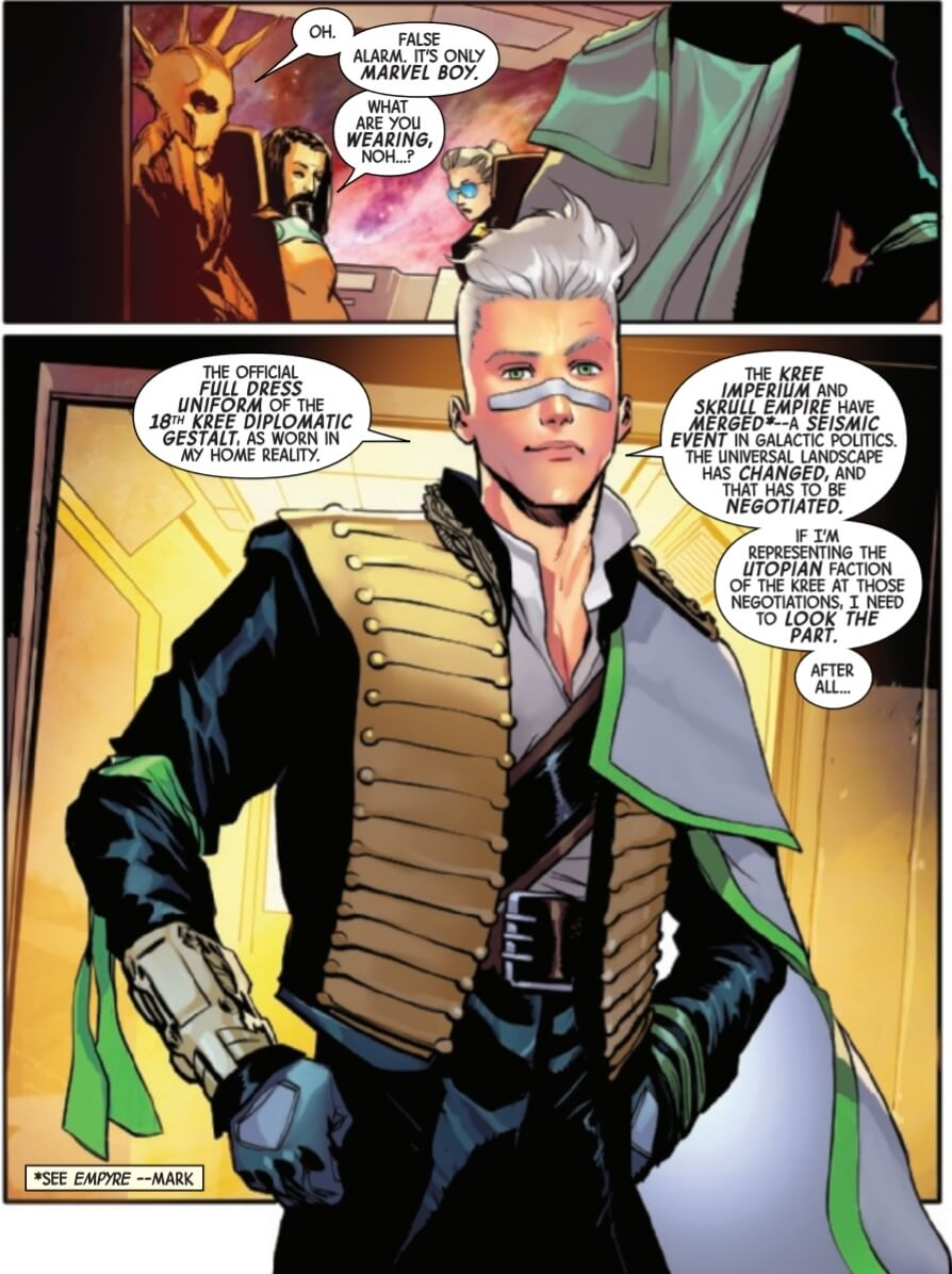 Noh-Varr debuts his fancy formal clothes.