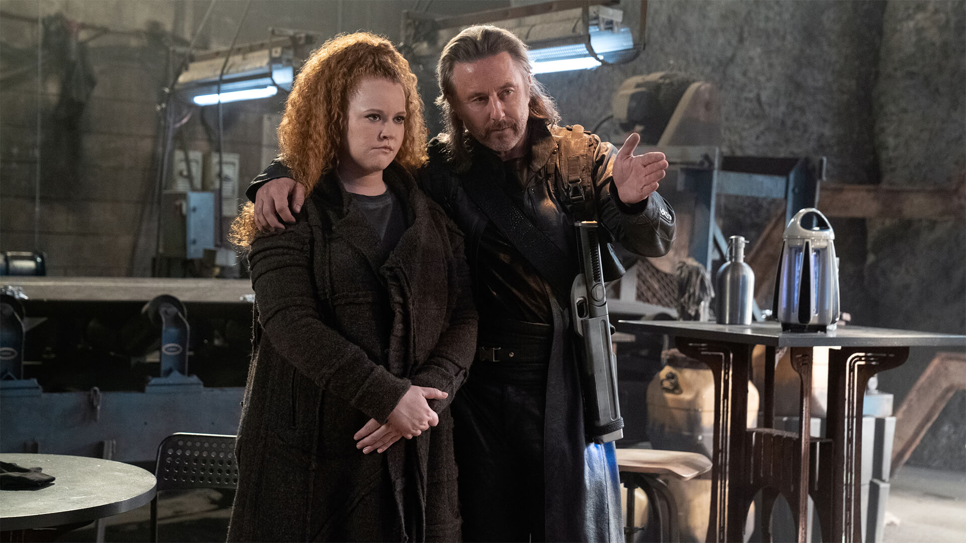 "Tilly (Mary Wiseman) and Zareh (Jake Weber) talk to each other in this promotional photo from CBS, showing a scene from Star Trek: Discovery Season 3, Episode 2, ""Far From Home"""