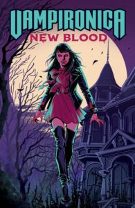 Veronica lodge - a vampiric teenager with black hair, red eyes and fangs - approaches the reader wearing a purple dress and black leather jacket as well as thigh-high black boots. he holds a stake in her hand and stands before a creepy old looking mansion. While Veronica and her surroundings are pale purple or plum, the trees, bats and architecture behind her are all royal purple. The moon - enormous and white - looms behind her