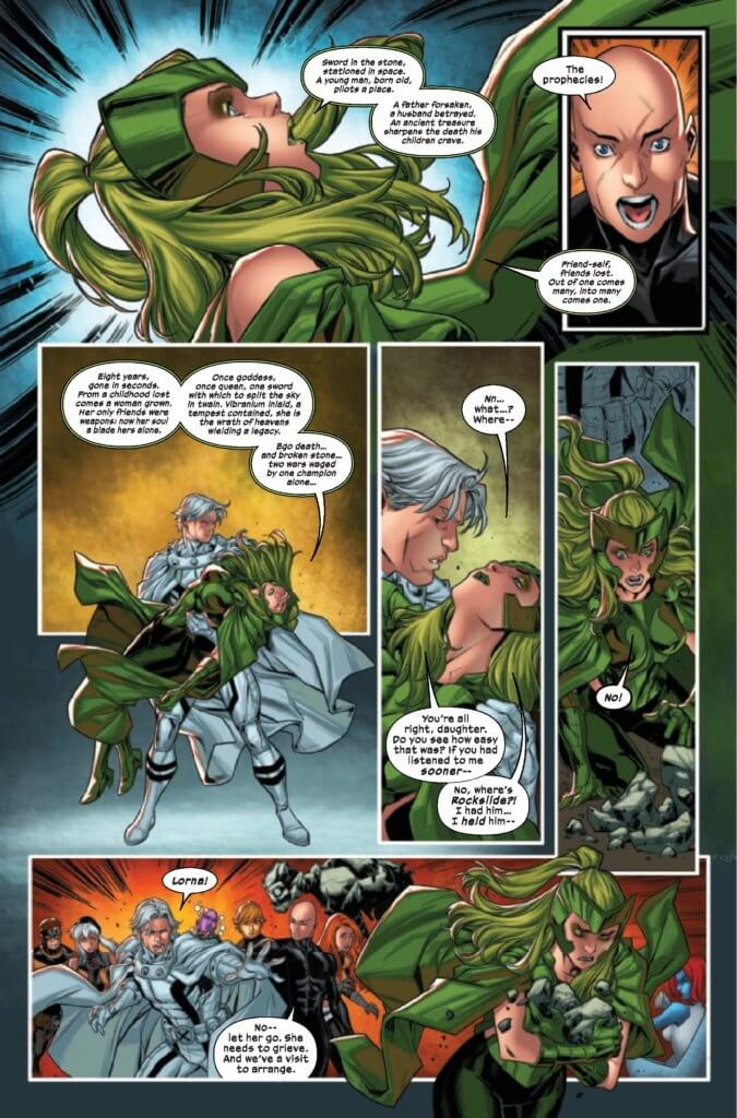 Polaris struggles to deliver prophecies and save Rockslide in page 35 of X-Factor 4 (2020) by Williams, Gomez, Shavrin, Muller, Silva, and Caramagna