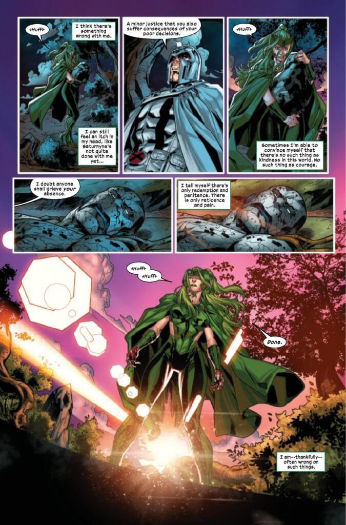 Polaris builds a shrine using former pieces of Rockslide, while Magneto watches Apocalypse die. Page 38 of X-Factor 4 (2020) by Williams, Gomez, Shavrin, Muller, Silva, and Caramagna