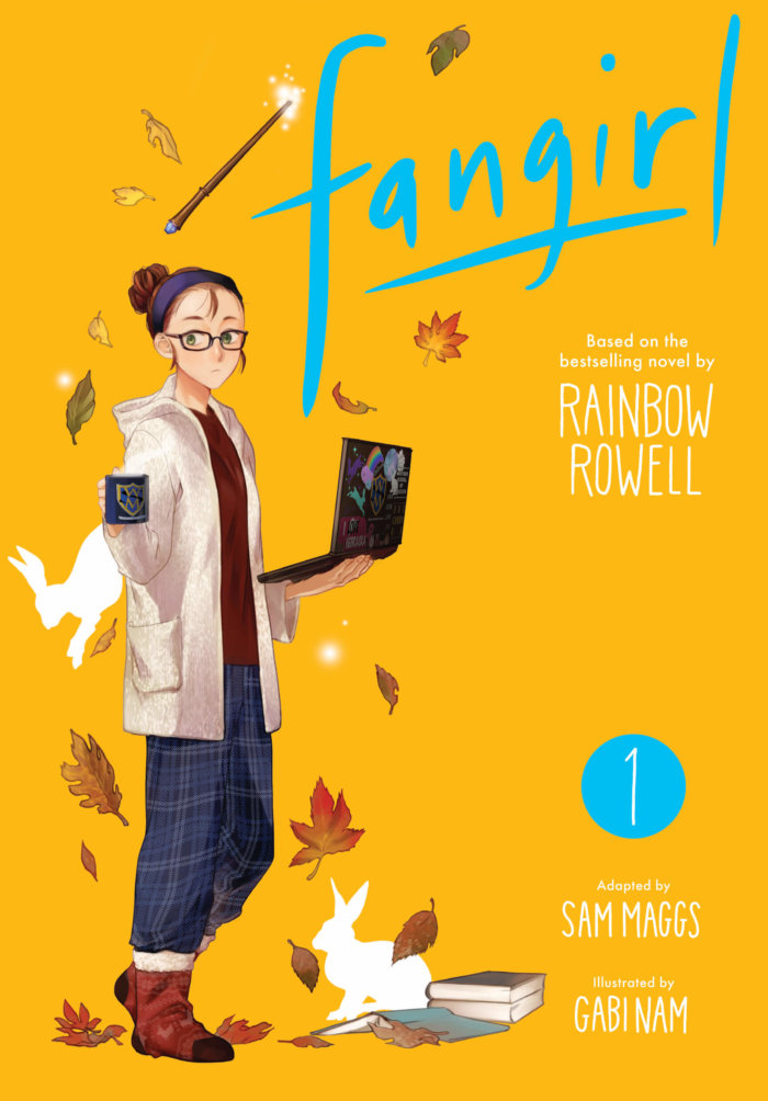 cover of Fangirl, depicting Cath in hoodie, sweatpants, and soft boots, holding mug and laptop.