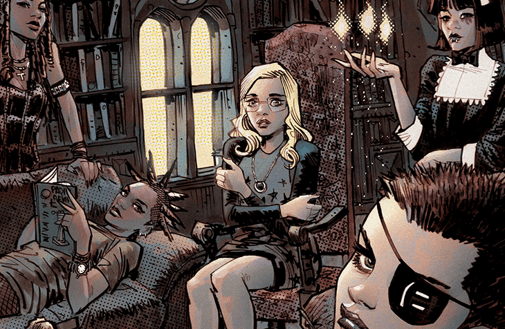 A Group of teenagers sit in a sunlit but otherwise darkened library. The girl nearest the viewer has an eyepatch and short hair - a Black girl produces magical sparks with her fingertips, and a girl with spiked hair lounges nearby, while another girl watches over them with a raised eyebrow. At the center is a blonde-haired teenager with glasses and a black jacket, grey sweater and a pendant. She sits with her knees pressed together, a wary look on her face and arms wrapped around herself