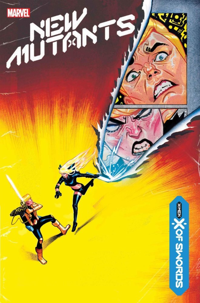 Magik attacks Doug Ramsey, her Soul Sword leaving an image of their faces in its wake as it seemingly slices the cover. Mike del Mundo's cover to New Mutants #13 (Marvel, October 2020).
