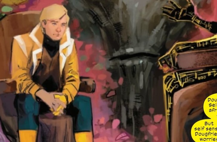 Doug Ramsey sits in a chair, Krakoas partial face behind him, flowers around them both. Warlock is cut off but on the other side of the panel. Page 8, New Mutants #13, art by Rod Reis, writing by Ed Brisson.