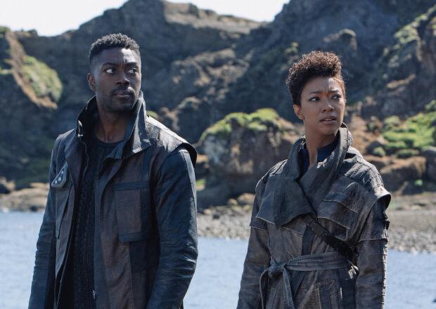 "Star Trek: Discovery main character Michael Burnham (Sonequa Martin-Green) stands alongside new series regular Book (David Ajala) in the Season 3 Premiere, ""That Hope is You, Part 1"""