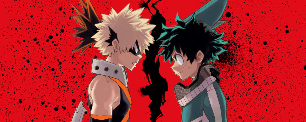 my hero academia promotional image showing Bakugou and Deku facing each other with a crack behind them.