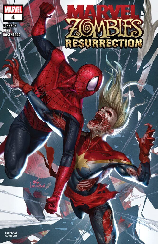 Among shards of shattering glass, Peter Parker tries to avoid the clawing form of a zombified Carol Danvers/Captain Marvel. Carol's face is half rotted off and her expression feral