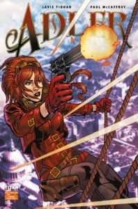 A red-headed woman fires a gun as she falls from the sky to a cityscape below