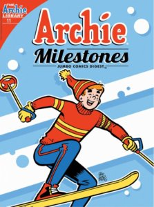 Archie Andrews, a teenager wearing blue pants, a red sweater, yellow gloves and a red hat, skis enthusiastically against a blue and white backdrop. He has red hair and white skin, as well as freckles.