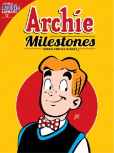 Archie Andrews, a teenager in a black jacket and red and white polka-dot bow tie alone with a white shirt, stares at something flirtatiously off-center of camera view in front of a yellow and red background. He has red hair and white skin, as well as freckles.