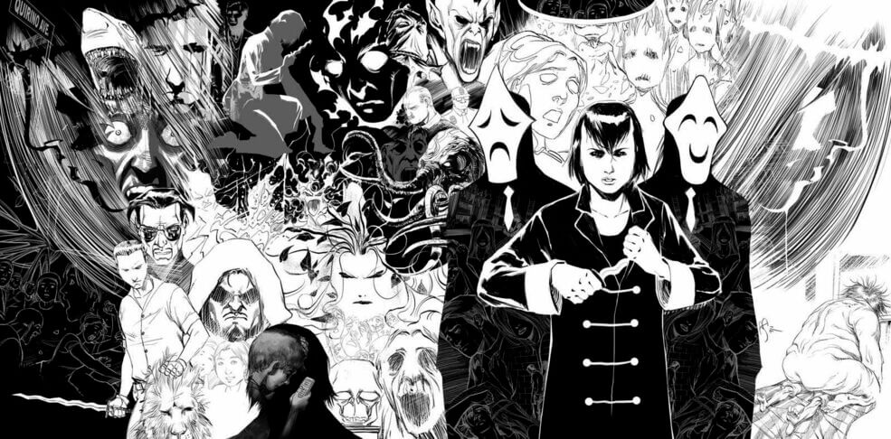Art jacket spread for Trese #4, Last Seen After Midnight. An arrangement of ghoulish-looking faces and figures across a pan. Furthermost left, a young woman wearing a black coat and sporting, short black hair holds a sharp object in her hands. Flanking her sides are two, slender masked figures.