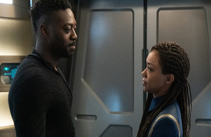 "Michael Burnham (Sonequa Martin-Green) and Book (David Ajala) are reunited in Star Trek Discovery's ""Scavengers"" (S3:E6)"