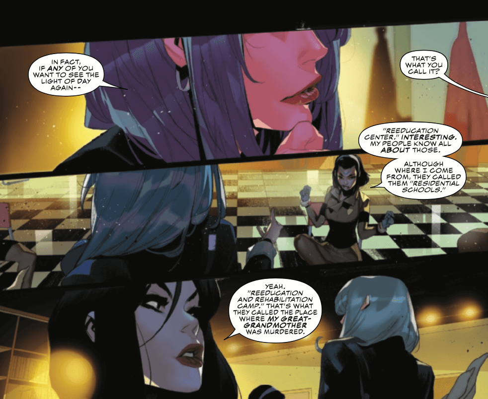 Panels from Champions #2 by writer Eve L. Ewing, artist Simone Di Meo, colorist Federico Blee, and letterer Clayton Cowles depicting a CRADLE agent, Amka Aliyak, and Lana Baumgartner