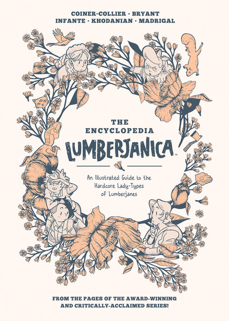 The Cover to the Encyclopedia Lumberjanica, featuring flowers, animals, and several of the volume's characters in a wreath shape