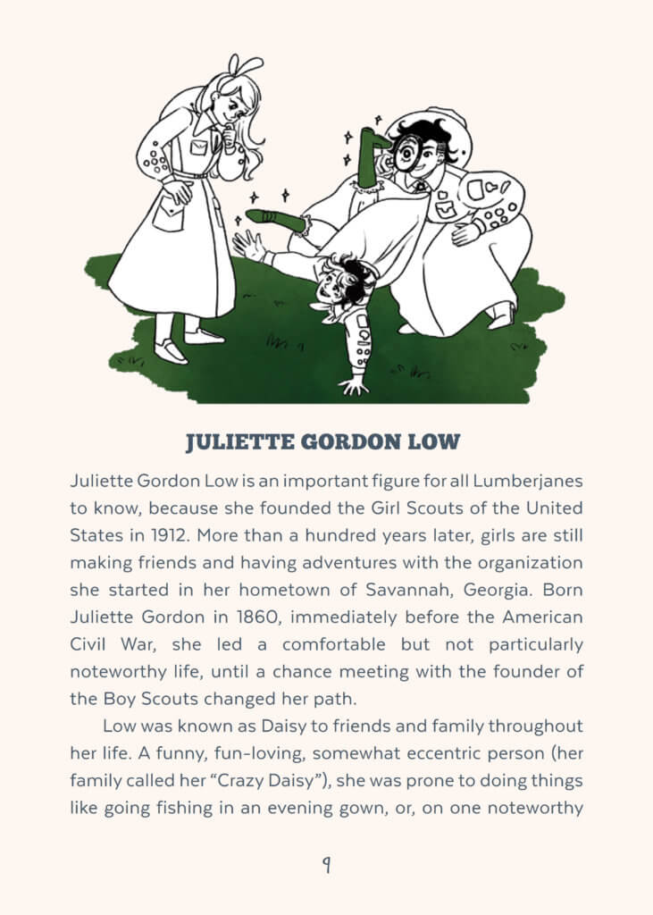 A page from the encyclopedia lumberjanica, featuring the beginning of the story of Juliette Gordon Lowe, with an illustration of the Lumberjanes in old fashioned girlscout uniforms