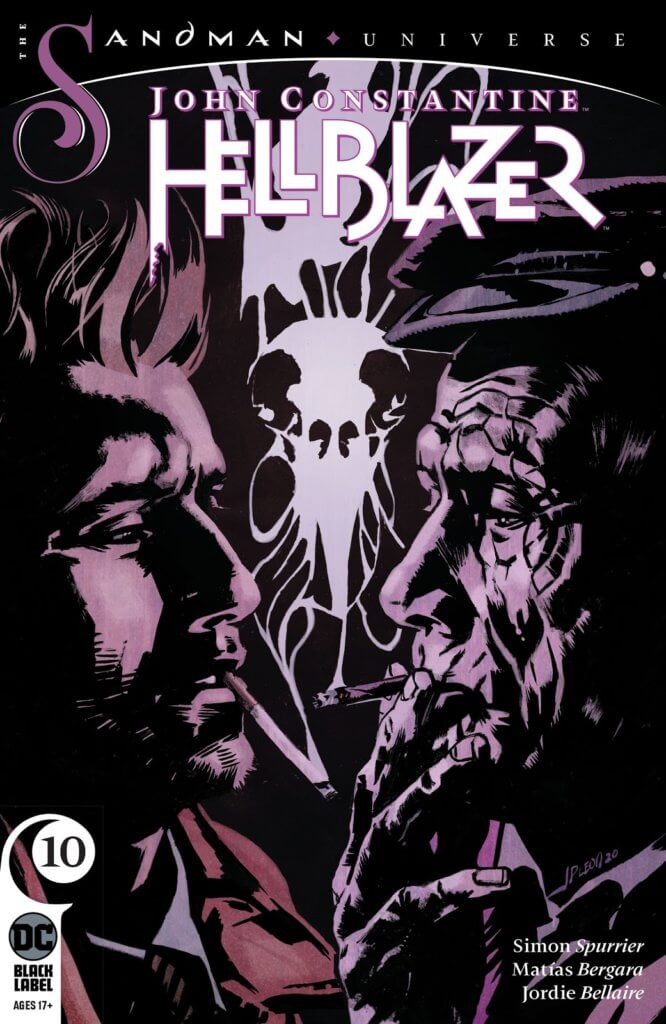 The cover to Hellblazer #10, showing John facing off against his older self with a bird skull made of smoke from their cigarettes between them.