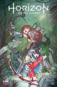 Two women - one redhead, one with dark hair - point bows and arrows at an unseen enemy in the forest.