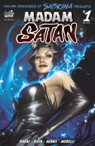 Madame Satan - a red-headed older woman with grey highlights and grey horns - stands before a cool blue smoke background. She wears a tight leather minidress and elbow-length black gloves.
