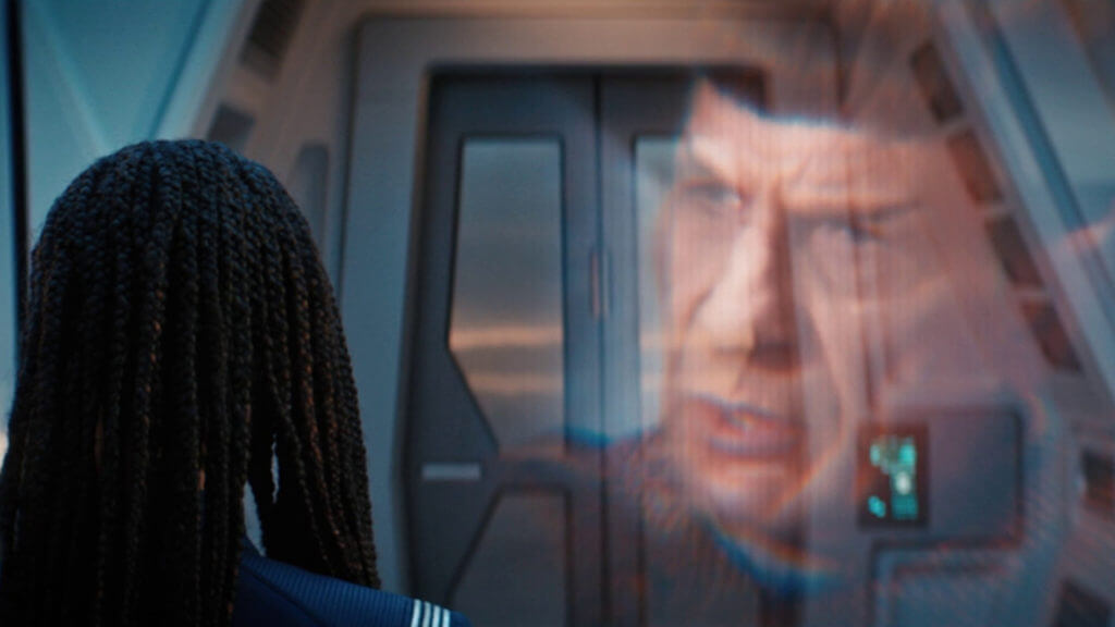 "Michael Burnham (Sonequa Martin-Green) Watches a Holographic Recording of Spock (Leonard Nimoy) discussing Romulan and Vulcan Relations in Star Trek Discovery's ""Unification III"" (S3:E7)"