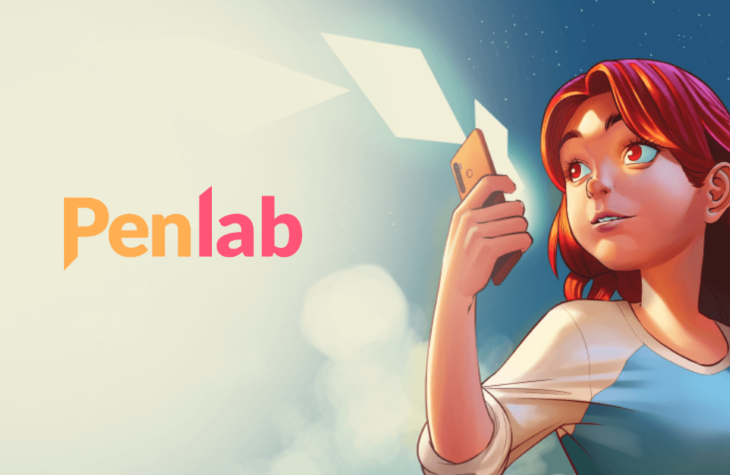"Header for Penlab. A young woman looks off to the distance of the left against a sky back drop. She holds up a phone and sheets of paper fly out of it. The word ""Penlab"" hovers to the left of the image."