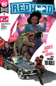 Red Hood on a car, with his new supporting cast behind him