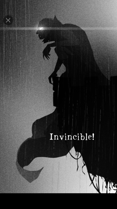 panel from opening sequence to Phobos showing a vampire on the edge of a cliff and exclaiming that he is Invincible!