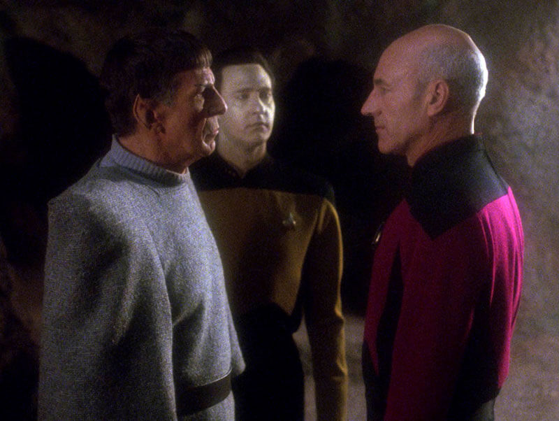 "Spock (Leonard Nimoy) Meets Data (Brent Spiner) and Picard (Patrick Stewart) in the Star Trek: The Next Generation two-parter ""Unification"" (S5: E7-8)"