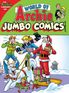 Archie is horrified as Jughead uses Hot Dog - his dog - to deliver presents via sled. He's done up like a reindeer and Jughead's done up like Santa Claus. Betty Cooper looks on approvingly.