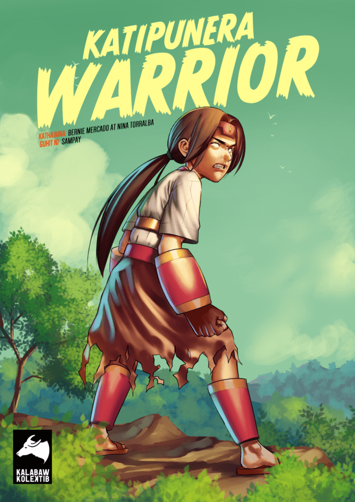 Cover for Katipunera Warrior #2 An adolescent sporting a headband, long ponytail, and shredded shorts looks off-frame with whitened eyes and an aggressive expression. They stand in a clearing with forestry in the background and the title overlay on top.
