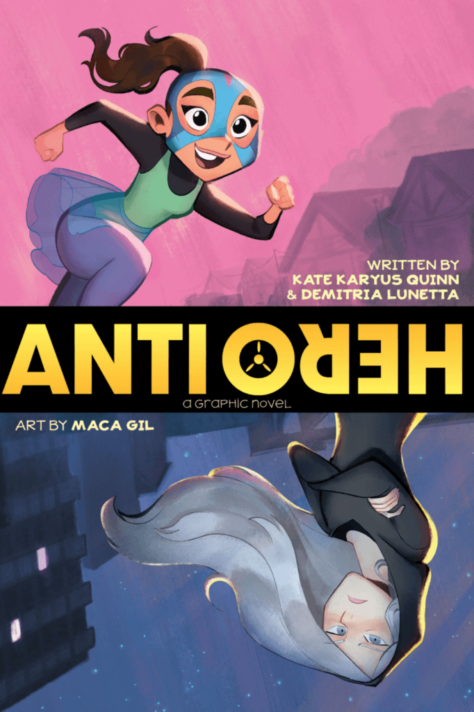 the cover of antihero shows a colorful teen juxteposed with a moodily lit one