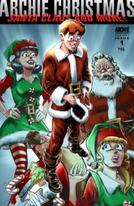 Archie, Veronica and Betty are assembled in Christmas outfits around Archie Andrews, who thoughtfully holds a Santa hat in his hand, head bowed. Santa Claus is seen in the background, and Archie, Betty and Veronica are all wearing clothing resembling Claus' or his elves.