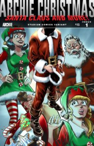 Archie, Veronica and Betty are assembled in Christmas outfits around Archie Andrews, who thoughtfully holds a Santa hat in his hand, head bowed. Santa Claus is seen in the background, and Archie, Betty and Veronica are all wearing clothing resembling Claus' or his elves. In this version, Archie's face is obscured.